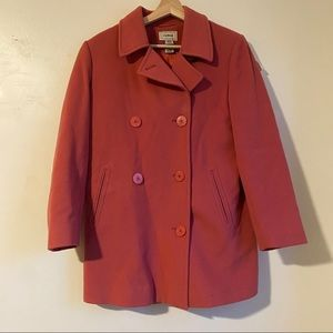 L.L. Bean Pink Wool Cashmere Peacoat, Size 6